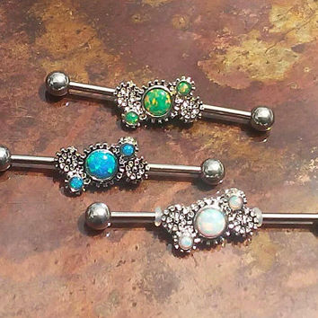 Opal Industrial barbell, 14G 316L Stainless Steel Steampunk, Gears Industrial Earrings with Fire Opal, Piercing Jewelry