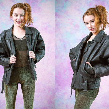 vtg black genuine real leather jacket, womens outerwear, vintage 70's 80's tumblr american apparel soft grunge vaporwave aesthetic fashion