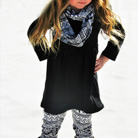 New Arrival Black White Aztec Elephant 3 Piece Warm Winter Outfit For Little Girls Infants Toddler Kids Clothes Trendy Little Girl Clothing
