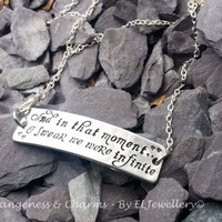 Hand stamped 'Infinite' Aluminium Rectangle Necklace, Valentines, Metal Jewellery, Wedding, Anniversary, Infinity, Quotes, Unique Design.