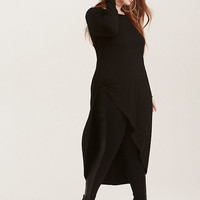 Black Knit Tie Front Asymmetrical Tunic Top