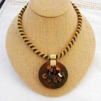 Autumn Colors Wooden Pendant  and Leaves Beadwoven Necklace  ~Charm Dangle Necklace~Boho Necklace~Autumn Necklace~Spiral Weave Necklace