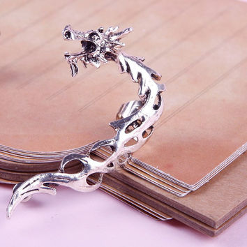 Retro Gothic Rock Punk Hollow Roaring Dragon Ear Cuff Clip Stud Earrings #23955