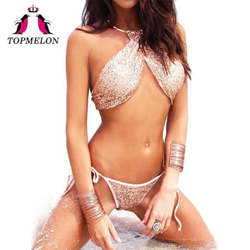 TOPMELON 2017 New Bikini Sexy Women Swimwear Sexy Metal Necklace Push Up Bodysuit Bathing Suit Beachwear Triangle Biquini Bikini