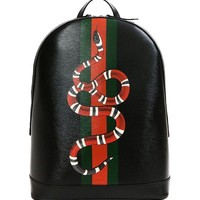 Wiberlux Gucci Fashion Casual Men's Snake Print Real Leather Backpack G