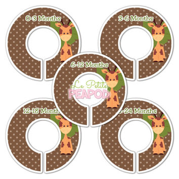 5 Custom Made Baby Closet Dividers - Sweet Sfari Baby Giraffe Design - Jungle Nursery Baby Shower Gift