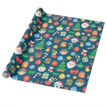 Cheerful Christmas Pattern on Blue Wrapping Paper