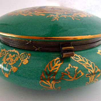 Limoges Hinged Green Porcelain Jewelry-Momento Box, Scenic Reproduction, Vintage