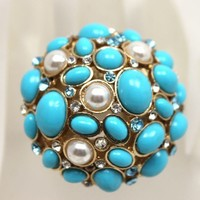 Blue Turquoise White Pearls and Crystals Stretch Cocktail Ring | AyaDesigns - Jewelry on ArtFire