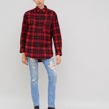 DOUBLE FLAP POCKET PLAID SHIRT BLACK/RED