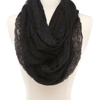 Lightweight Lace-Trimmed Infinity Scarf by Charlotte Russe - Black