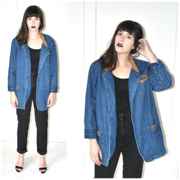 grunge denim BLAZER vintage 80s 90s PREPPY hipster relaxed fit unisex SUEDE collar long dark jean jacket os