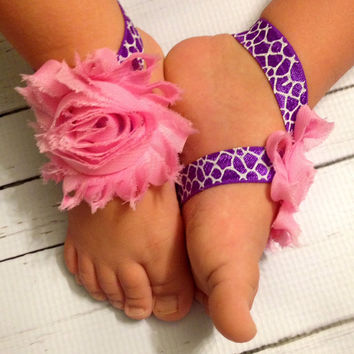 Baby Girl Barefoot Sandals...Purple & Pink Baby Barefoot Sandals...