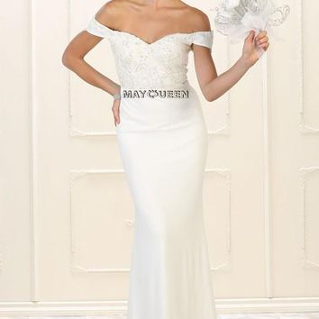 Casual Wedding gown & Off the Shoulder Dress  RQ7525 - CLOSEOUT