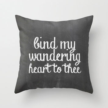 """Chalkboard inspired pillow, """"bind my wandering heart to thee"""" throw pillow, home, apartment, dorm decor, home accessories, decorative pillow"""