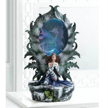 Light-Up Fairy and Dragon Figurine