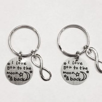 Infinity I Love You To The Moon And Back BFF Best Friend Forever Keychain Set