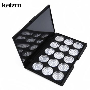 15pcs Empty Eyeshadow Metal Aluminum Plates Cosmetics Makeup Tools Beauty DIY Plastic Case Box