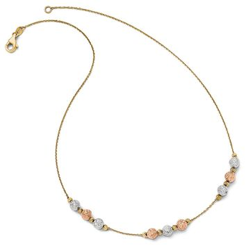 Italian Tri Color Beaded Necklace in 14k Gold, 17 Inch