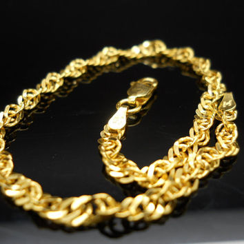 Sterling Bracelet 8 Inch Twisted Double Curb Link Silver Gold Overlay Petite Milor Italy 925 Chain