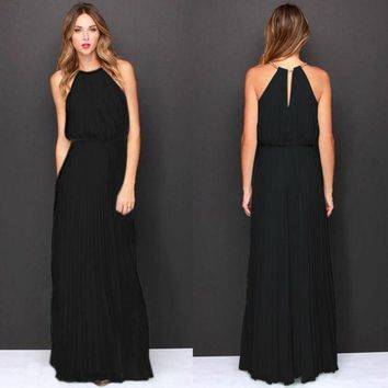DCCK7XP Formal Bear Shoulder Pleated Long Chiffon Maxi Party Prom Dress