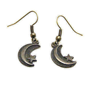 Small Bronze Crescent Moon Earrings, Moon and Star Earrings, Bronze Moon Earrings, Celestial Jewellery, Simple Moon Earrings, Small Gift