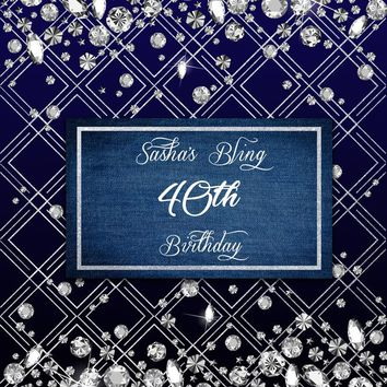 Custom Diamonds and Denim Party Backdrop (21st, 30th, 50th) - C0224