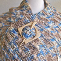 Blue and Brown Shawl by Annesknits