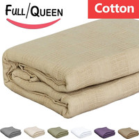 Pure-Cotton Blanket (Full-Queen-Tan) Couch Throw - By Utopia Bedding Tan