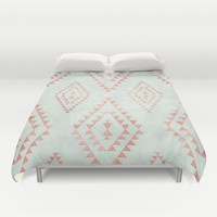 mint & coral tribal pattern Duvet Cover by Dani