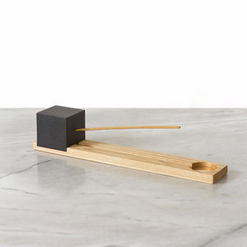 Lonewa Incense Burner No. 1 - Black Cube with Ash Base