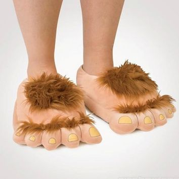 Furry Adventure Warm Slippers Fashion Big Hairy Unisex Savage Monster Hobbit Feet Plus