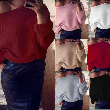 Novelty shrug solid thin winter Burst models Strapless Solid color Long sleeves Women Sweaters coat cotton wine red