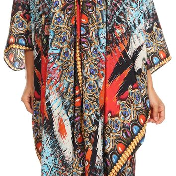 Sakkas Alvita Women's V Neck Beach Dress Top Caftan Cover up with Rhinestones