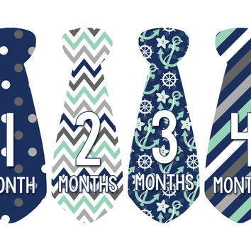 Baby Boy Monthly Necktie Milestone Birthday Tie Stickers Style #702