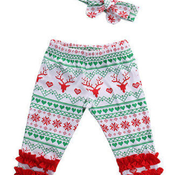 XMAS Toddler Infant Baby Girls Pants Deer Pattern Baby Leggings +Headband Outfit Set kids Toddler Boys Girls Clothing