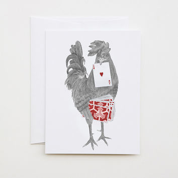 """Petey Duval Key West Gypsy Rooster Note Card, 4.25"""" x 5.5"""""""