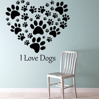 I Love Dogs Heart Wall Decal Sticker Art Decor Bedroom Design Mural art dog lover