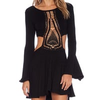 Indah Kiss Hand Crochet Bell Sleeve Dress in Black