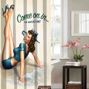 Come on the water is clear retro vintage pin up girl Shower Curtains