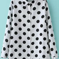 White Long Sleeve Polka Dot Pointed Flat Collar Blouse