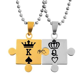 Classic Stainless Steel Lovers Couple Pendants Necklace Women Gold Silver Jewelry King Queen Crown Stitching Pendants Necklace