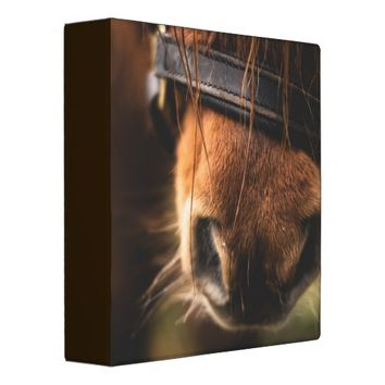 Closeup of a Cute Brown Horse Nose 3 Ring Binder