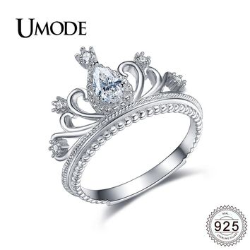 UMODE 925 Sterling Silver Crown Rings for Women Wedding Jewelry Luxury Princess CZ Wedding Bands Bijoux Bague Femme Gift ULR0337