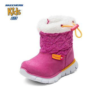 SKECHERS Kids Children Gilrl Snow Boots Winter Warm Thicken Plush Mid Calf Zipper Leather Baby Toddler Boots Casual Sneaker Shoe