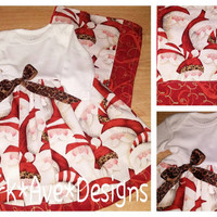 Baby Girl Ho Ho Ho Santa Leopard onsie Christmas dress and burp cloth set 0-3 months