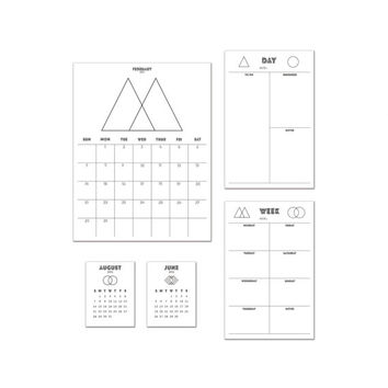 Printable Calendar + Planner Set - 2015-2016 - Geometric Minimal Shapes