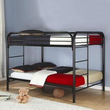 Heavy Duty Black Metal Full over Full Bunk Bed with Ladder