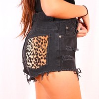 Black denim high waist shorts (cheetah print pockets)