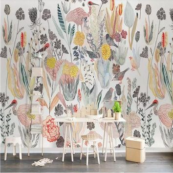 Nordic American Tropical Birds Background Wall Paper Manufacturer Wholesale Wallpaper Mural Custom Photo Wall